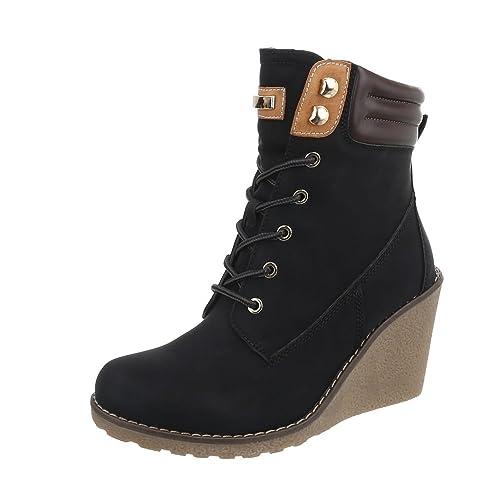 Zapatos Para Mujer Botas Plataforma Botines con Cordones Negro Tamaño 39