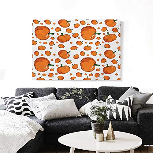 Harvest Canvas Wall Art Halloween Inspired Pattern Vivid Cartoon Style Plump Pumpkins Vegetable Print Paintings for Home Wall Office Decor 28
