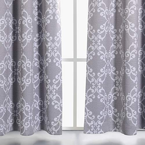 (MYSKY HOME Grey Blackout Curtains 84 Inches Long for Bedroom Floral Moroccan Tile Print Thermal Insulated Window Treatment Set for Living Room, 52