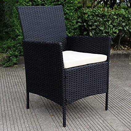 Conjunto de Muebles Poli Ratán para Jardín Terraza Patio - 3 Cojines Blancos 1 Mesa de Café 1 Sofá Biplaza 2 Sillas / Negro: Amazon.es: Jardín