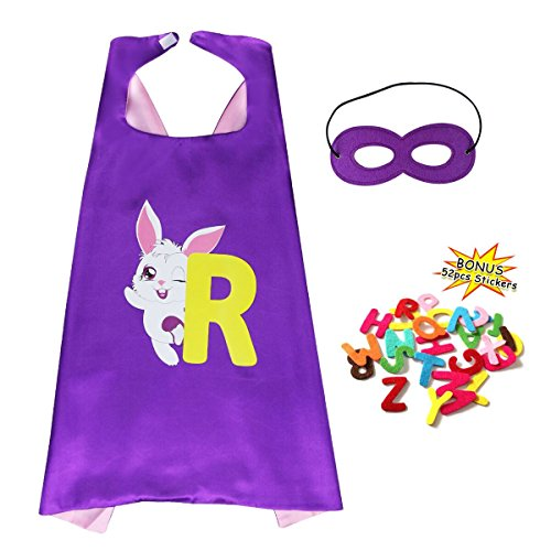 Kids Toddlers DIY Super Hero Cape Mask Set-Boys Girls Preschool Teaching Tool Felt Alphabet Letters Stickers A to Z (Purple-Pink)