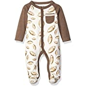 Mud Pie Baby Star Striped One Piece Footed Sleeper, Brown, 0-3 Months