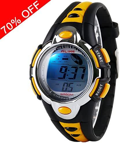 Kid Watch Multi Function Digital LED Sport 50M Waterproof Electronic Digital Outdoor Watches Alarm for Boy Girl Children Gift (yellow)