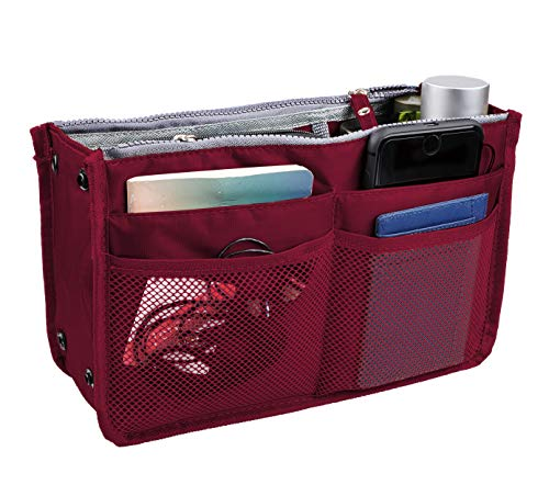 Vercord Updated Purse Handbag Organizer Insert Liner Bag in Bag 13 Pockets Burgundy ()