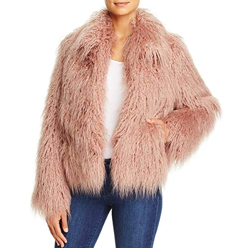 Vince Camuto Womens Fall Warm Faux Fur Coat Pink M