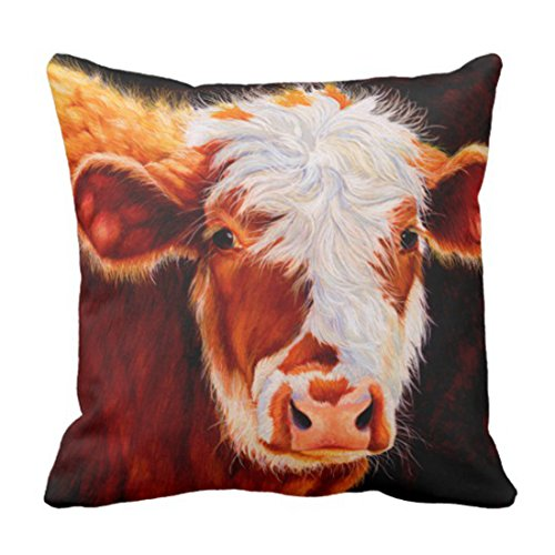 Emvency Throw Pillow Cover Western Wooly Bully Hereford Calf Cow Baby Decorative Pillow Case Home Decor Square 18 x 18 Inch Pillowcase