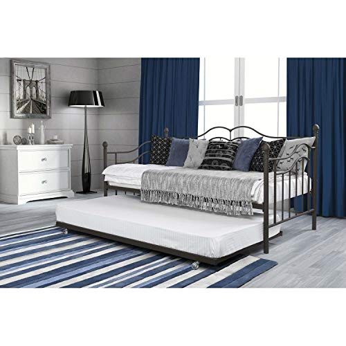 StarSun Depot Twin Size Daybeds with Trundle Bed in Brushed Bronze Metal Finish