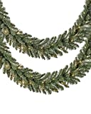 Set of 2 Balsam Hill Classic Blue Spruce Prelit Artificial Christmas Garlands, 6 Feet, Clear LED Lights - Battery Operated