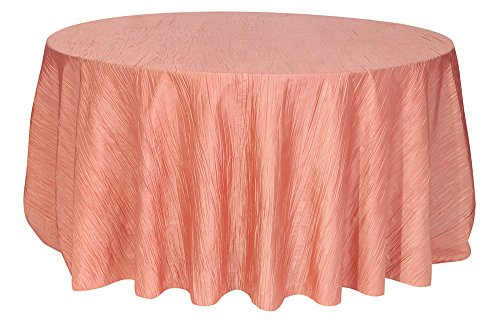 Your Chair Covers - 120 inch Round Crinkle Taffeta Tablecloths Coral, Round Table Linens for 5 ft Round Banquet Tables ()