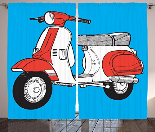 Funky Curtains by Ambesonne, Cute Scooter Motorcycle Retro Vintage Vespa Soho Wheels Rome Graphic Print, Living Room Bedroom Window Drapes 2 Panel Set, 108 W X 63 L Inches, Blue Vermilion White (Print Soho Multi)