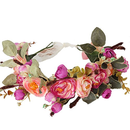 Meiliy Flower Headband Natural Berries Reeds Flower Garland Crown Hair Wreath with Adjustable Ribbon for Wedding Festivals, Purple -