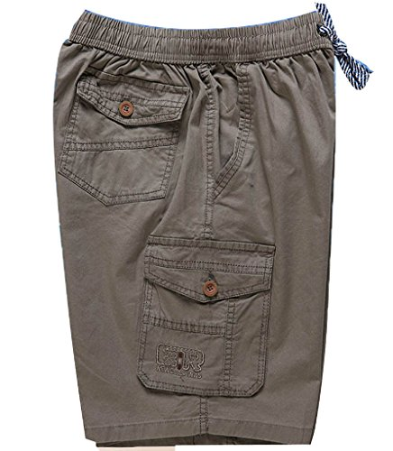 - YangguTown YGT Men's Cotton Full Elastic Waist Cargo Performance Baseline Short