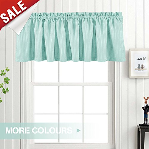 Valance Light Teal 18 inch Kitchen Window Curtain Living Room Bedroom Waterproof Bathroom Curtains Valance Panel Sold Individually (Bedroom Valances)