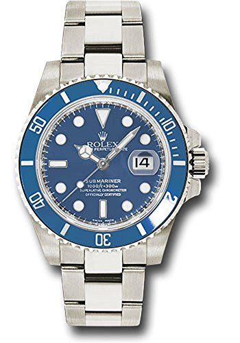 Rolex Oyster Perpetual 40mm 18K White Gold Submariner Date, Blue time Lapse Cerachrom Bezel, Blue dial, and Oyster Glidelock Bracelet.