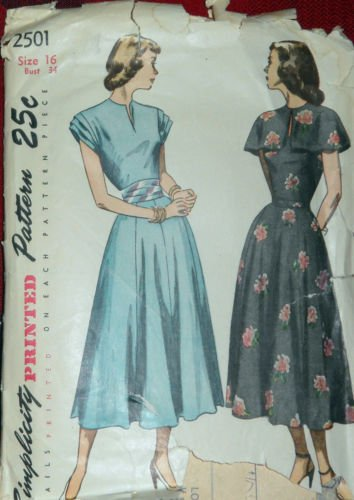 - Simplicity 2501 Vintage Sewing Pattern for Fitted Bodlce Front Neck Slash Opening Dress with Attached Flared Gored Skirt, Pleated Sleeves and Cummerbund. Make with Optional Neckline Cape Too, 34-bust