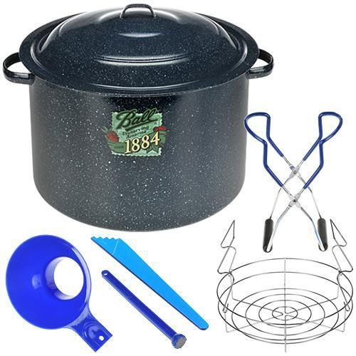Ball Enamel Water Bath Canner, Including Chrome-Plated Rack and 4-Piece Utensil Set Enamel Water