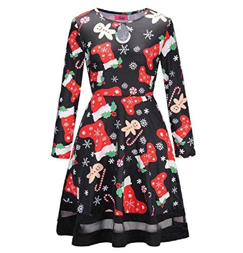 Coolred-femmes Dessin Animé Couture Noël Fil Net Fête Imprimé Floral Dress 13