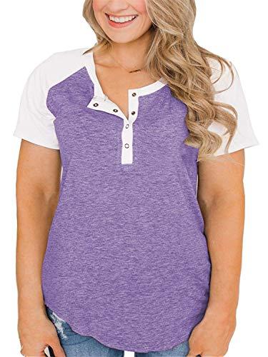Womens Plus Size Raglan Shirt Short Sleeve Color Block Tunics Top Purple 22W ()