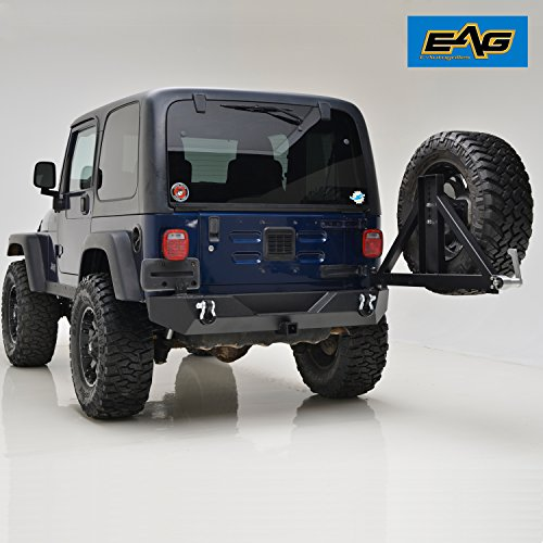 Heavy Duty Rear Bumper - EAG 07-18 Jeep Wrangler JK Heavy Duty Rear Bumper with Tire Carrier