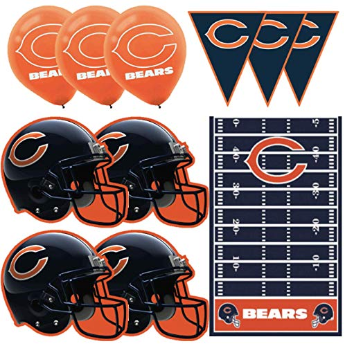 Chicago Bears Football Decorations Wall Helmet Cutouts, Balloons, Pennant Banner & Table Cover