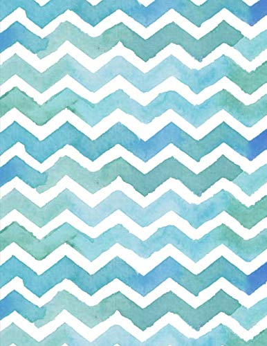 Graph Paper Notebook: Quad Ruled Graphing Paper, 200 Pages, Blue Green Chevron (8.5x11) (Graphing Paper Sketchbook)