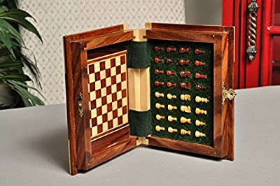 BOOK WOODEN MAGNETIC Travel Chess Set - SMALL - by US Chess Federation