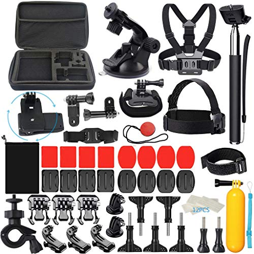 Kariwell 58-in-1 Action Camera Accessory Kit for GoPro Hero7/6/5/3+/2/Xiaomi/Xiaoyi/Sj in Swimming Rowing Climbing Bike Riding Camping and More