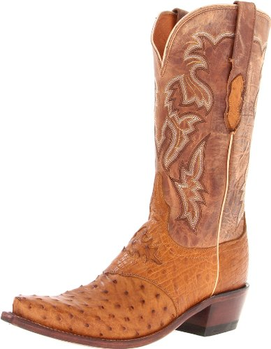 Lucchese Classics Women's M5603 Boot,Tan Burnished Full Quill Ostrich/Camel Tan Tucson Calf,7.5 B (M) US