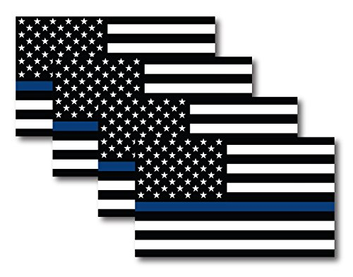 (Thin Blue Line American Flag Magnet Decal 5 inch x 3 Inch 4 Pack - Heavy Duty for Car Truck SUV - in Support of Police and Law Enforcement Officers)