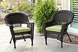 Cheap Jeco W00201_2-FS029-CS Wicker Chair with Green Cushion, Set of 2, Espresso