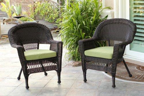 Jeco W00201_2-FS029-CS Wicker Chair with Green Cushion, Set of 2, Espresso