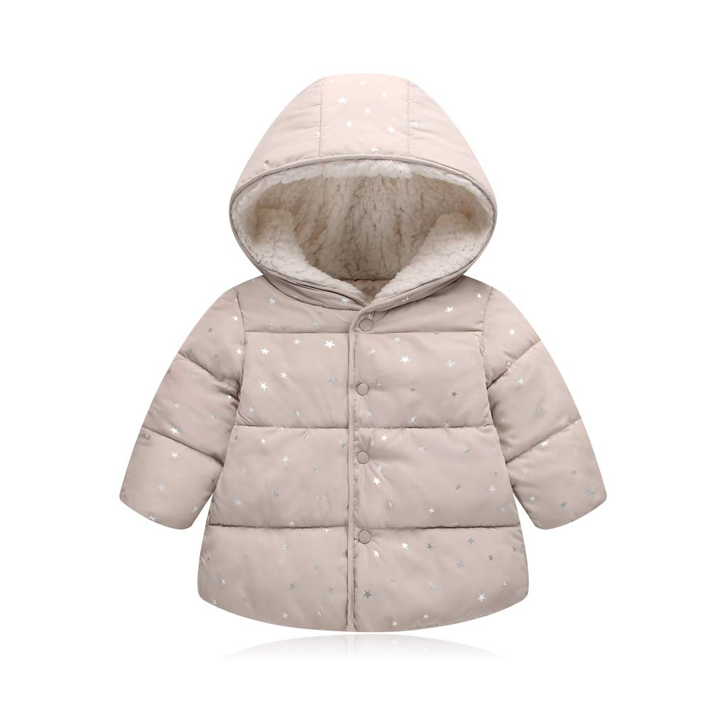 BOZEVON Girls and Boys Cloak Hooded Outerwear Star Pattern Cotton Coats