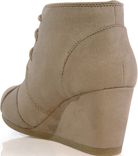 MARCOREPUBLIC Galaxy Womens Wedge Boots - (Taupe) - 10 by MARCOREPUBLIC (Image #4)'