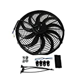 """Universal 16"""" High Performance 3000CFM Electric Cooling Radiator Fan With Fan Mounting Kit Reversible S Blade"""
