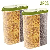 2pcs Airtight Cereal Container Dry Food Dispenser Storage Keeper 12-18 oz Capacity for Snacks Sugar Flour Nut with Hovering Flip Top Lid and Large Mouth for Easy Pouring - Green