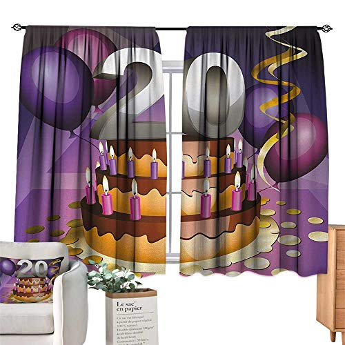 RuppertTextile Thermal Insulated Drapes for Kitchen/Bedroom 20th Birthday,Cartoon Print of a Birthday Cake Golden Colored Frosting and Candles,Purple and Lilac Set of Two Panels 55
