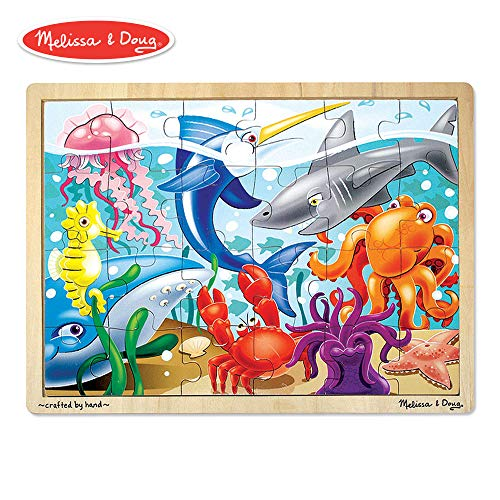 Melissa & Doug Under the Sea Wooden Jigsaw Puzzle (Preschool, Sturdy Wooden Construction, 24 Pieces) -