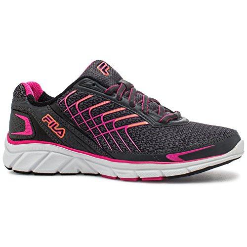 Fila Mujeres Memory Core Callibration 3 Running Shoe Dark Shadow, Pink Glo, Shocking Orange