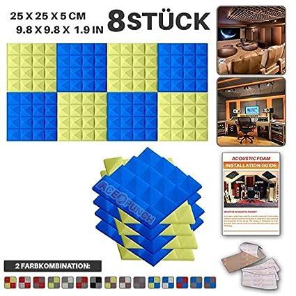 Acepunch 8 Stücke BLAU UND GELB Kombination Pyramide Akustikschaumstoff Schallschutzisolierung Studio Fliesen Mit freien Klebestreifen 25 x 25 x 5 cm AP1034