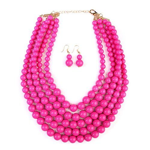 Hot Color Set Necklace - kpajewelry KPA Fashion Women's Popular Bubble Strand Necklace Set for Her (Hot Pink)