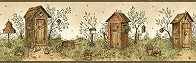 Chesapeake BBC65022B Twain Sand Garden Outhouse Portrait Wallpaper Border, Brown