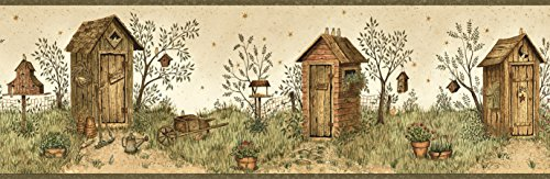 Chesapeake BBC65022B Twain Sand Garden Outhouse Portrait Wallpaper Border, Brown (Sand Borders Wallpaper)