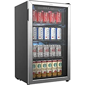 hOmeLabs Beverage Refrigerator and Cooler – 120 Can Mini Fridge with Glass Door for Soda Beer