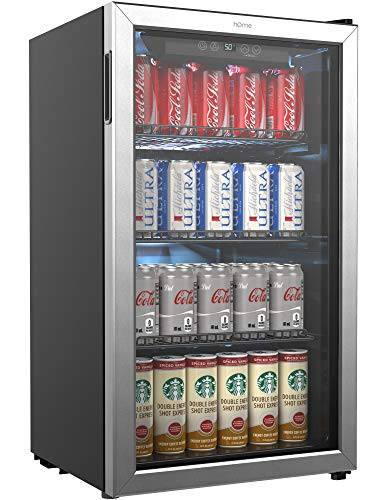 hOmeLabs Beverage Refrigerator and Cooler - 120 Can Mini Fridge with Glass Door for Soda Beer or Wine - Small Drink Dispenser Machine for Office or Bar with Adjustable Removable Shelves (24 Refrigerator Bottom Freezer)