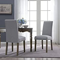 BELLEZE | Upholstered Dining Chair | Parsons | Linen Fabric | Nail head | Set of 2 | Grey