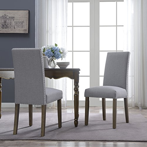 Belleze Set of (2) Classic Deluxe Parson Dining Chair Nailhead Fabric Padded Seat Accent, Gray