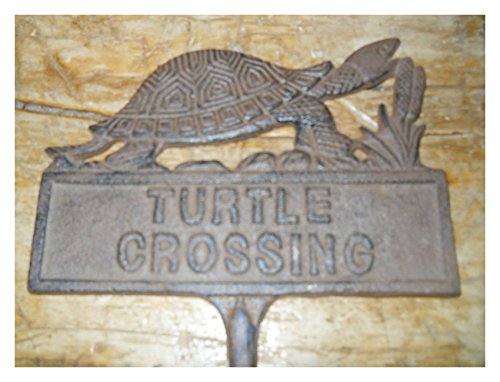 Cast Iron TURTLE CROSSING Sign Garden Stake Home Decor Plaque (Garden Iron Decor Cast)