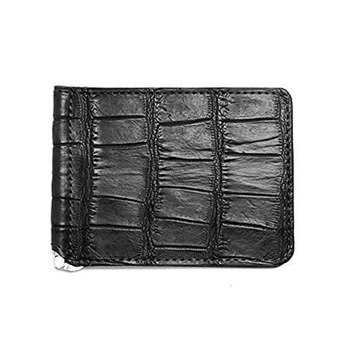 マネークリップ クロコダイル×牛革 折財布 本革 札バサミ B0752H622Tブラック/レッド