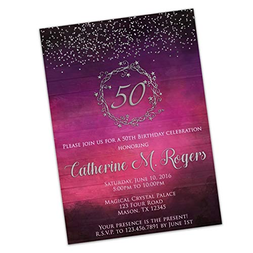 - Glitter Purple Pink Birthday Invitations for Women 50th 60th Any Silver Stars