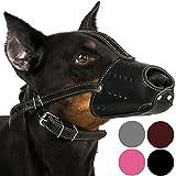 CollarDirect Leather Dog Muzzle for Doberman Basket Black Brown Pink Grey (Black)